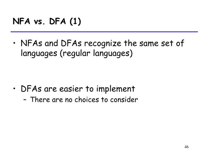 NFA vs. DFA (1)