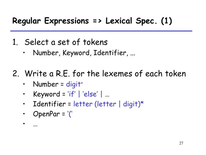 Regular Expressions => Lexical Spec. (1)