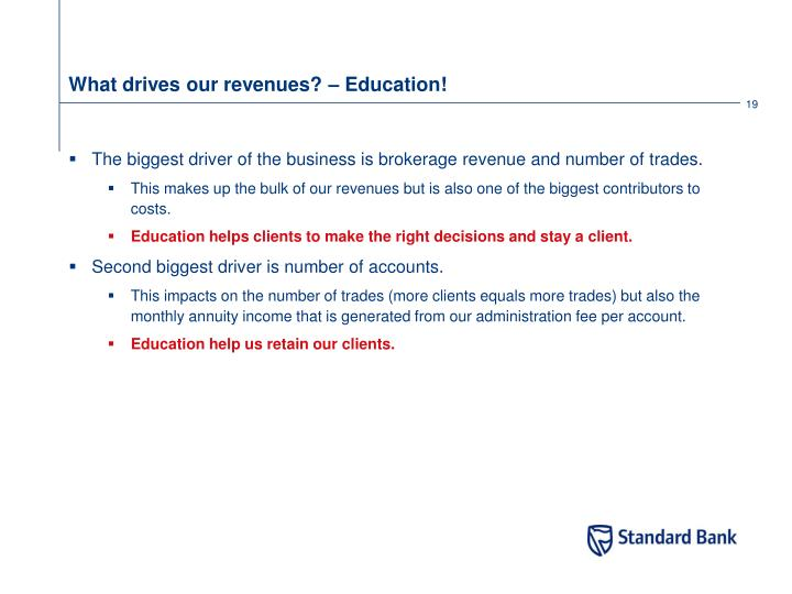 What drives our revenues? – Education!