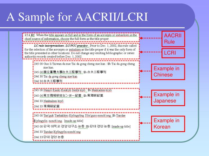 A Sample for AACRII/LCRI