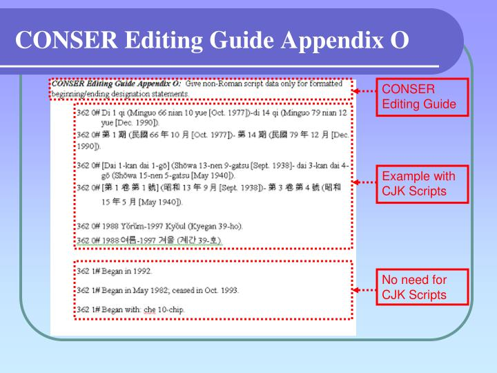CONSER Editing Guide Appendix O