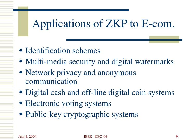 Applications of ZKP to E-com.