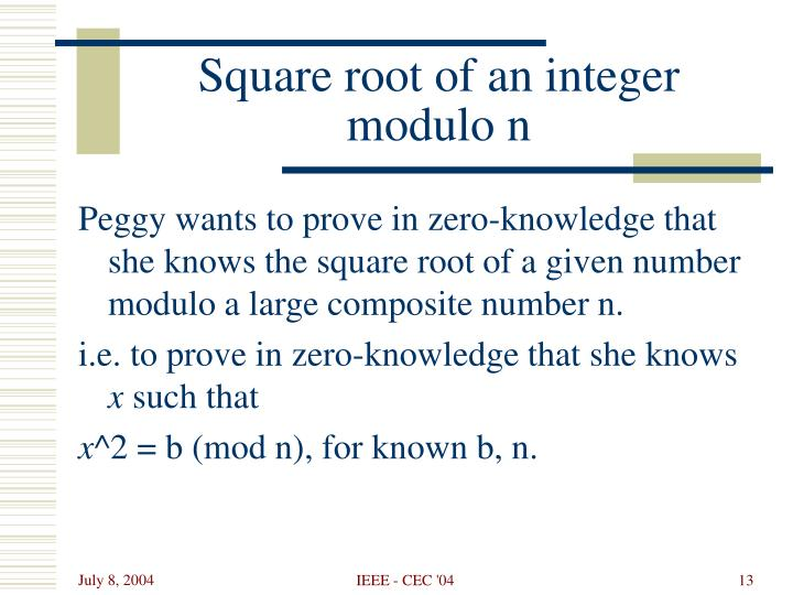 Square root of an integer modulo n