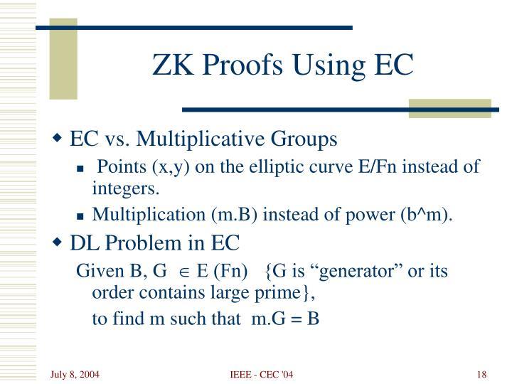 ZK Proofs Using EC