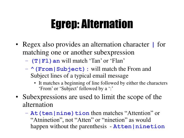 Egrep: Alternation
