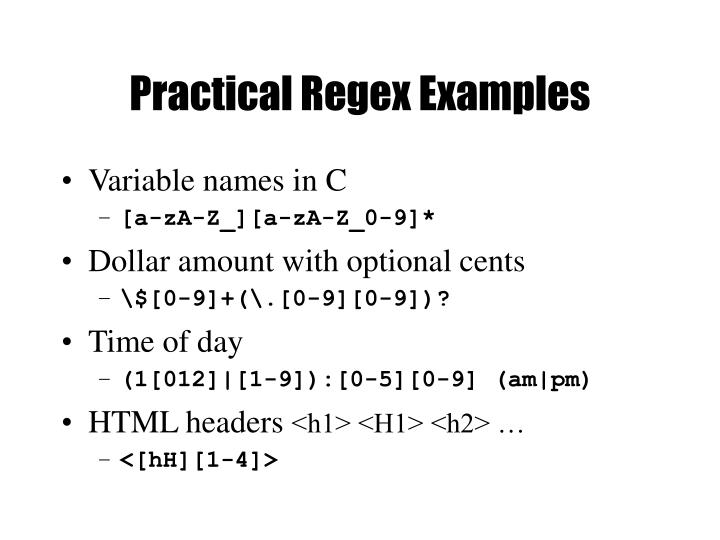 Practical Regex Examples