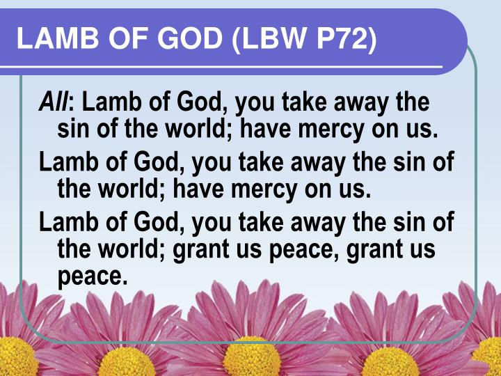 LAMB OF GOD (LBW P72)