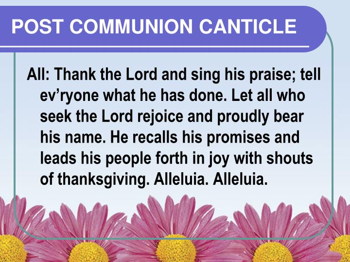 POST COMMUNION CANTICLE
