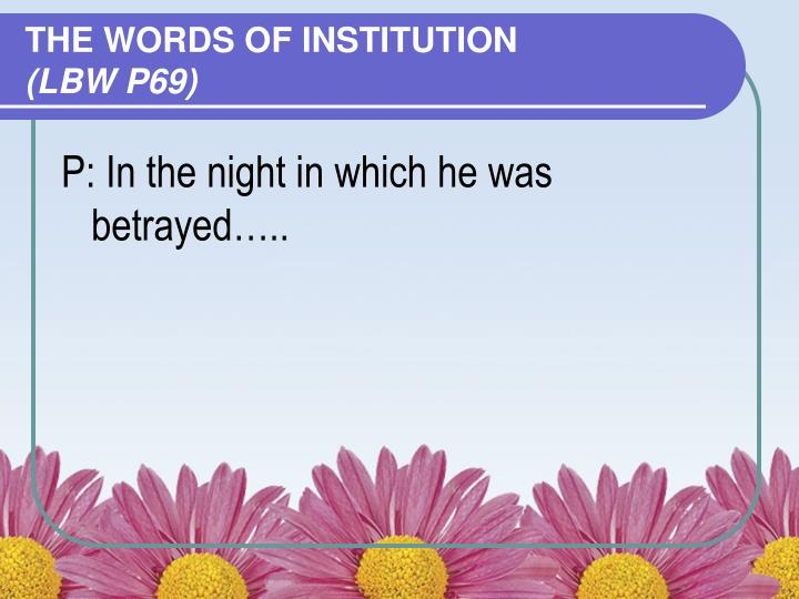THE WORDS OF INSTITUTION