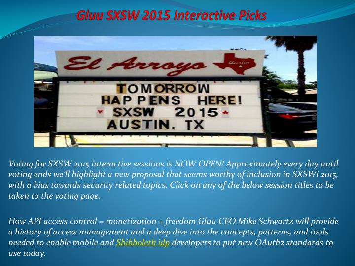 Gluu SXSW 2015 Interactive Picks