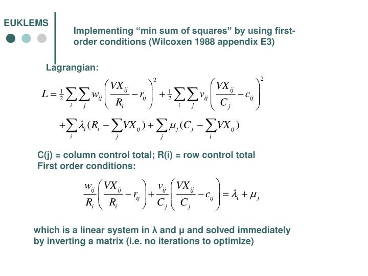 "Implementing ""min sum of squares"" by using first-order conditions (Wilcoxen 1988 appendix E3)"