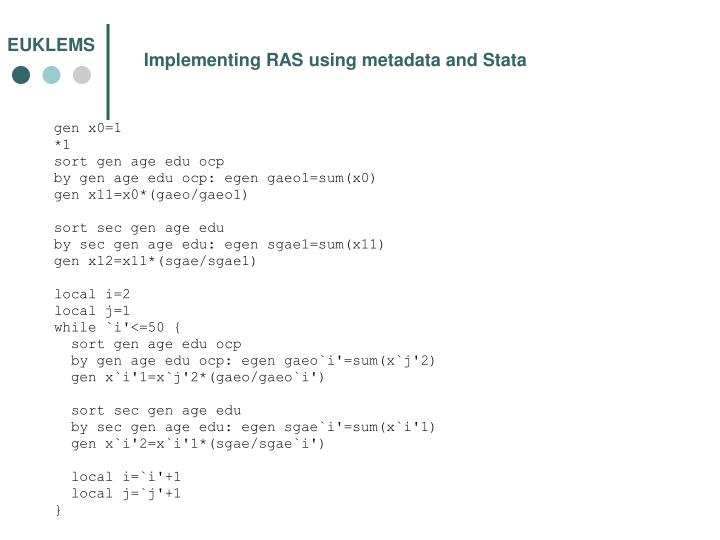 Implementing RAS using metadata and Stata