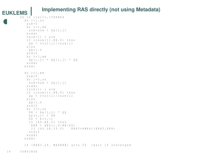 Implementing RAS directly (not using Metadata)