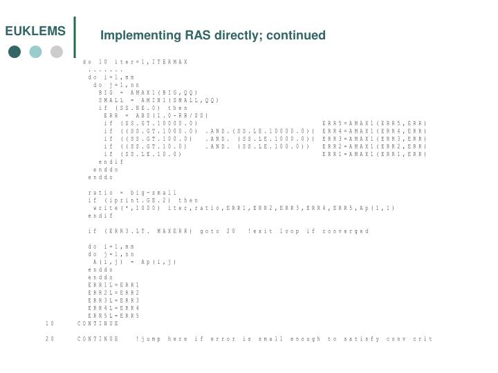 Implementing RAS directly; continued