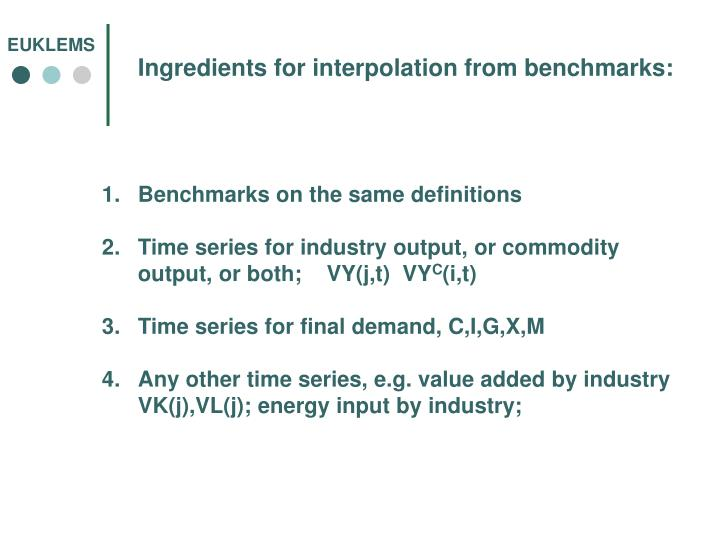 Ingredients for interpolation from benchmarks: