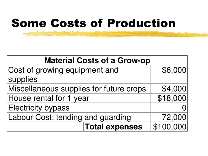 Some Costs of Production