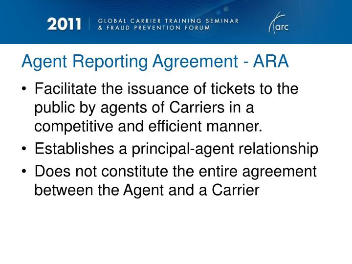 Agent reporting agreement ara