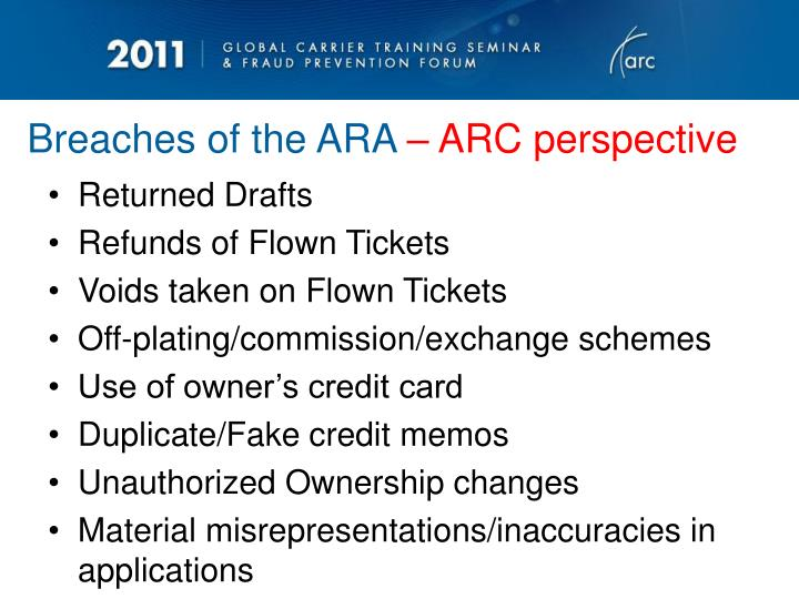 Breaches of the ARA