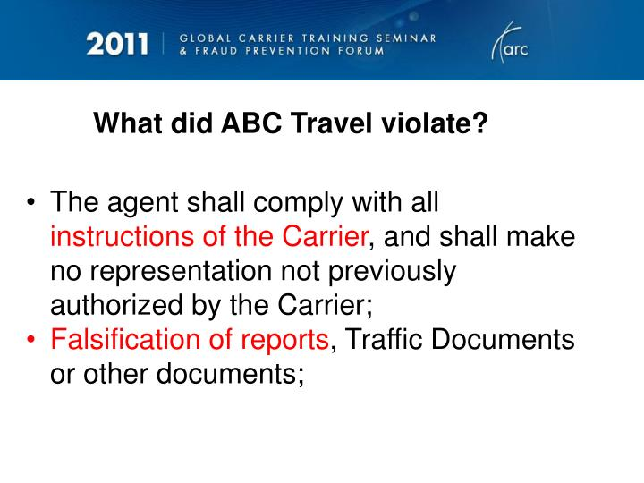 What did ABC Travel violate?