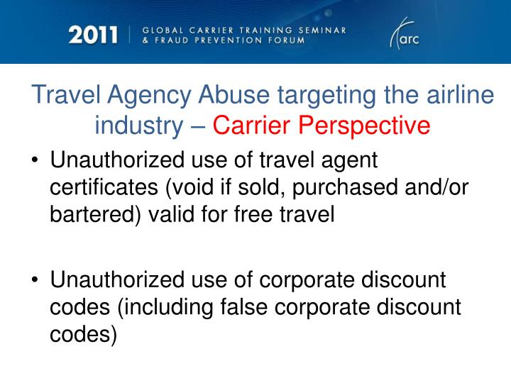 Travel Agency Abuse targeting the airline industry –