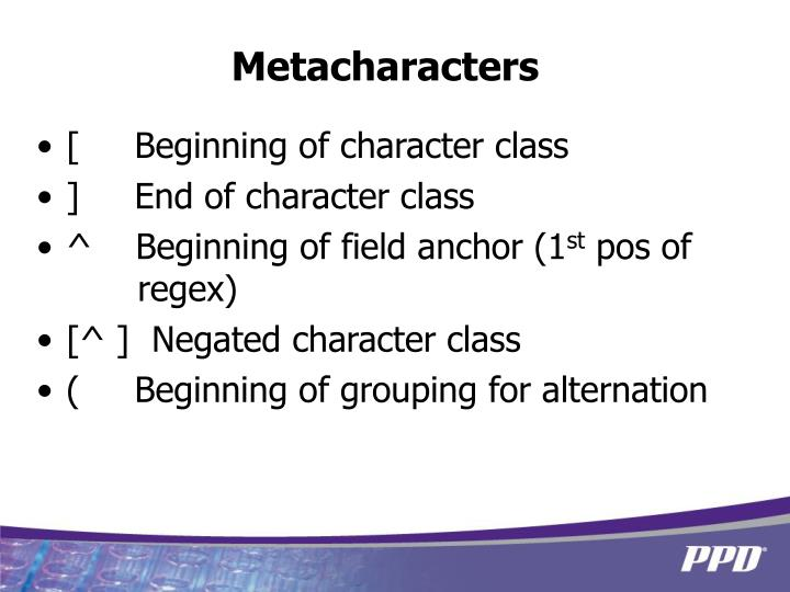 Metacharacters