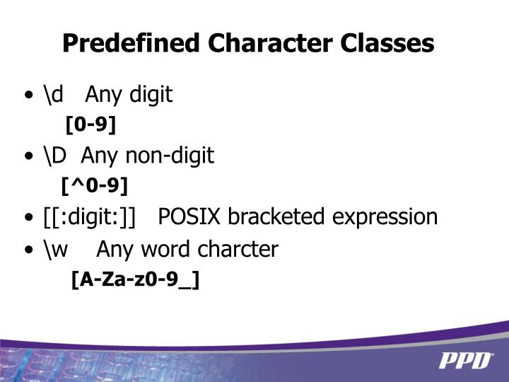 Predefined Character Classes