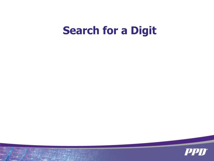 Search for a Digit