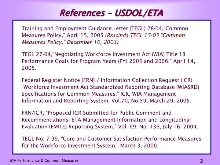 References – USDOL/ETA