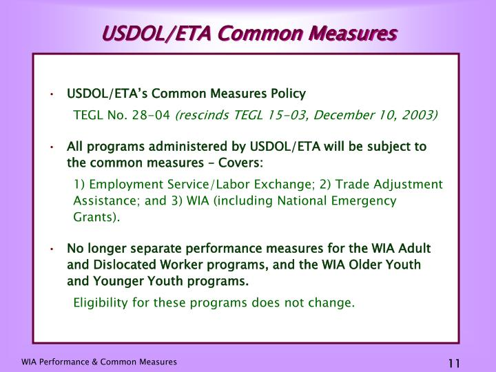 USDOL/ETA Common Measures
