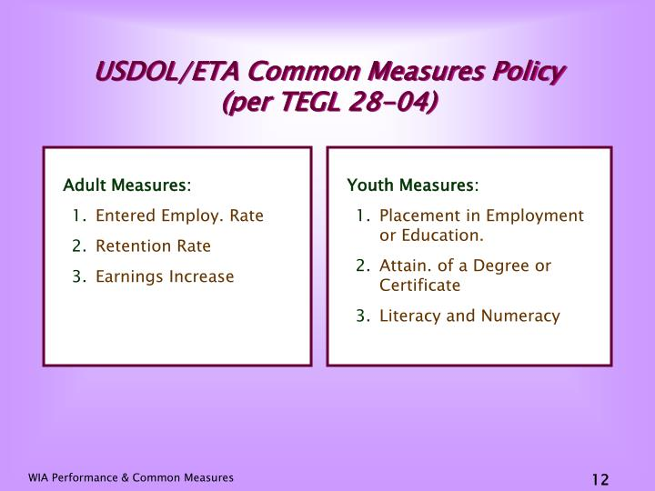 USDOL/ETA Common Measures Policy