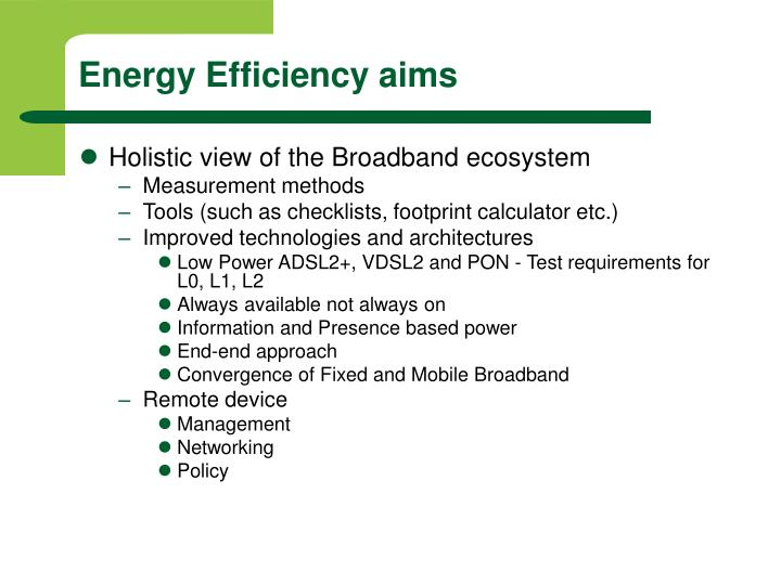 Energy Efficiency aims