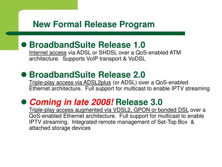 New Formal Release Program