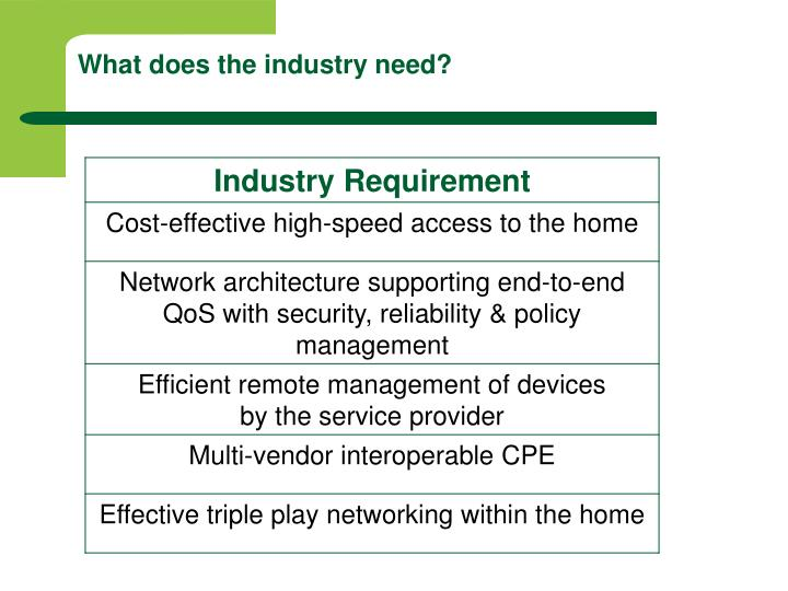 What does the industry need?