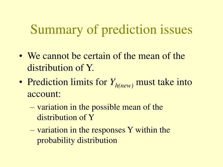 Summary of prediction issues