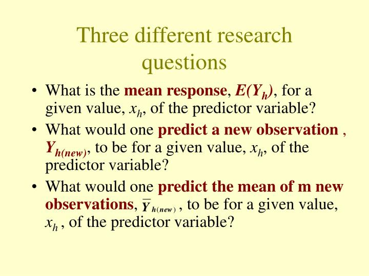 Three different research questions