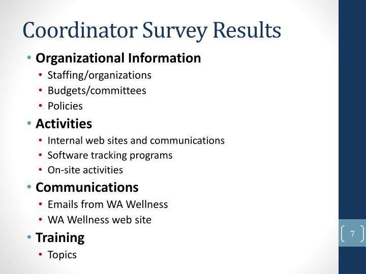 Coordinator Survey Results