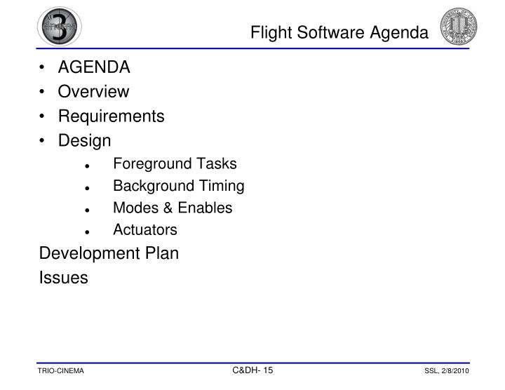 Flight Software Agenda