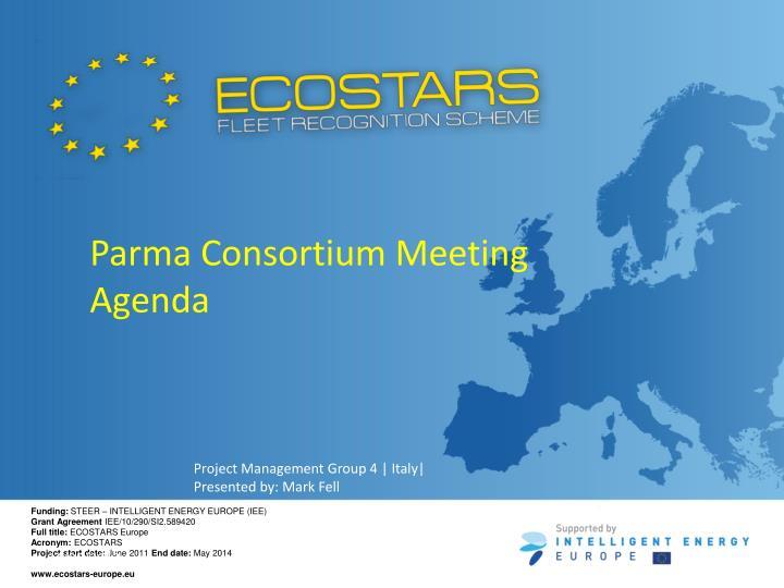 Parma Consortium Meeting Agenda