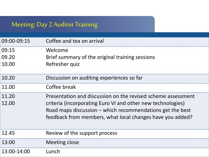 Meeting: Day 2 Auditor Training