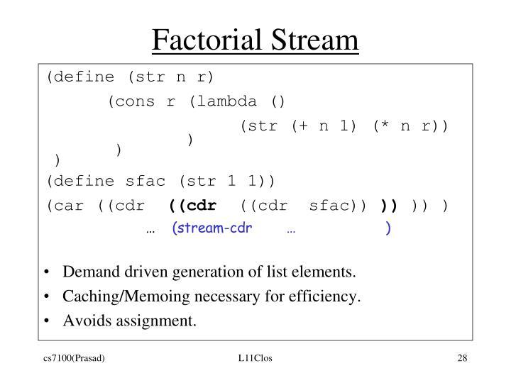 Factorial Stream