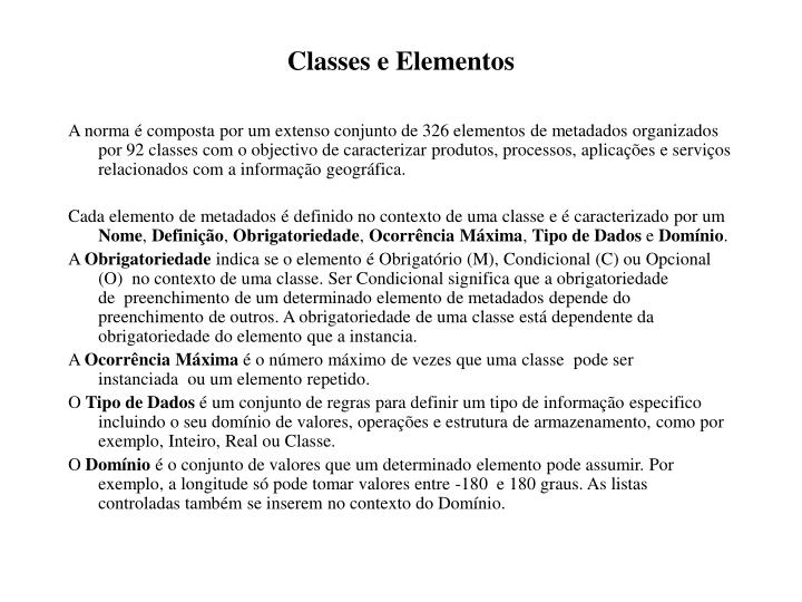 Classes e Elementos