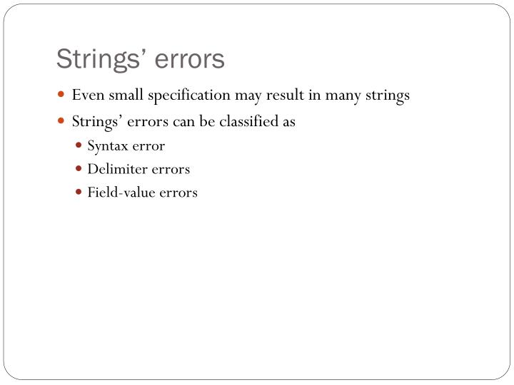 Strings' errors