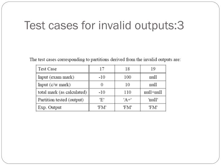Test cases for invalid outputs:3