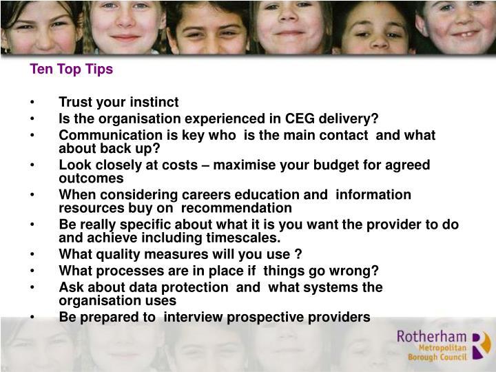 Ten Top Tips