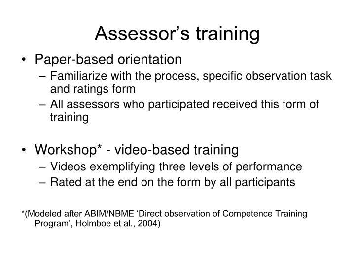 Assessor's training