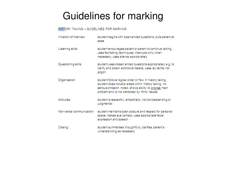 Guidelines for marking