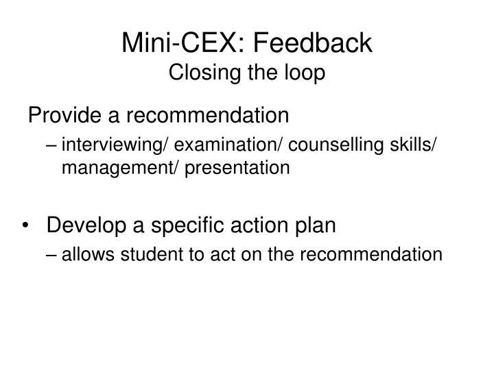 Mini-CEX: Feedback