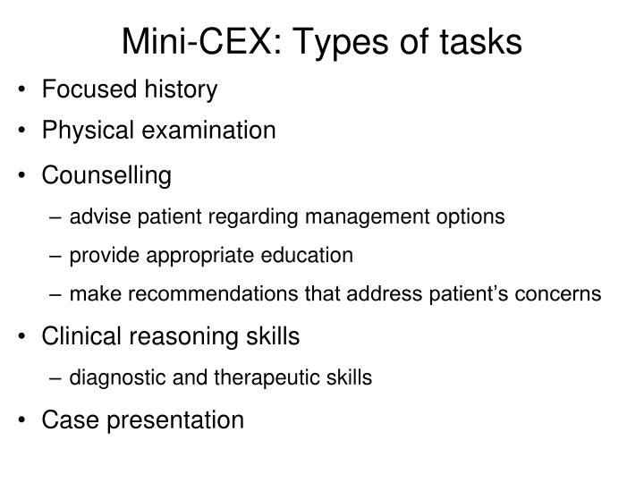 Mini-CEX: Types of tasks