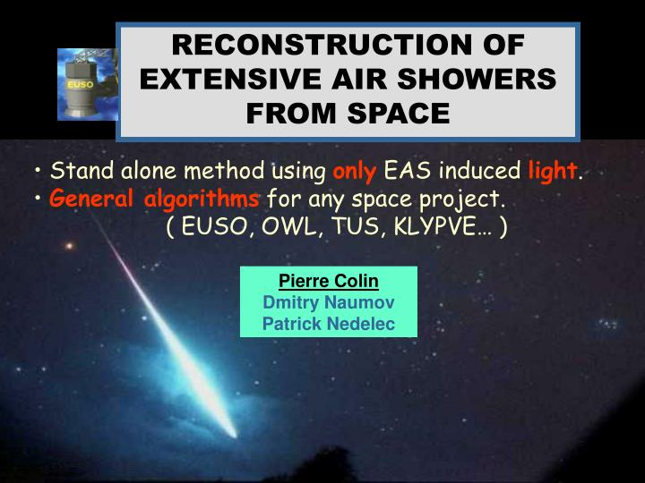 RECONSTRUCTION OF EXTENSIVE AIR SHOWERS FROM SPACE