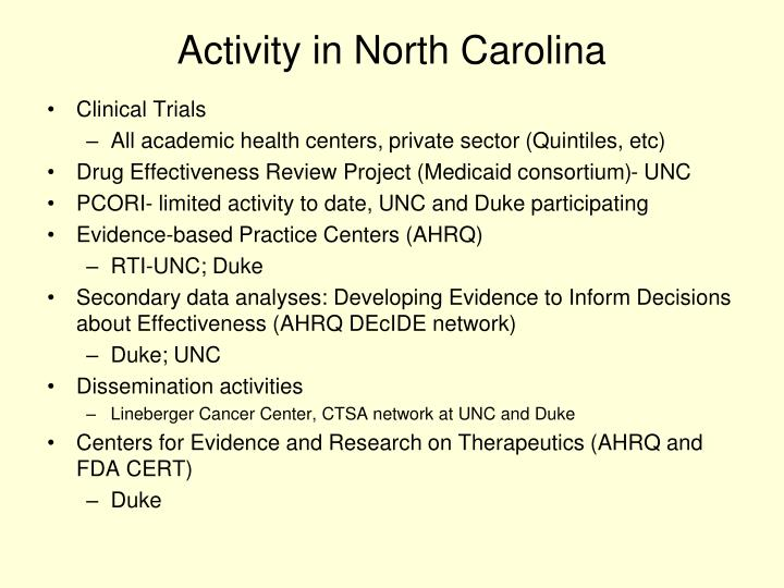 Activity in North Carolina